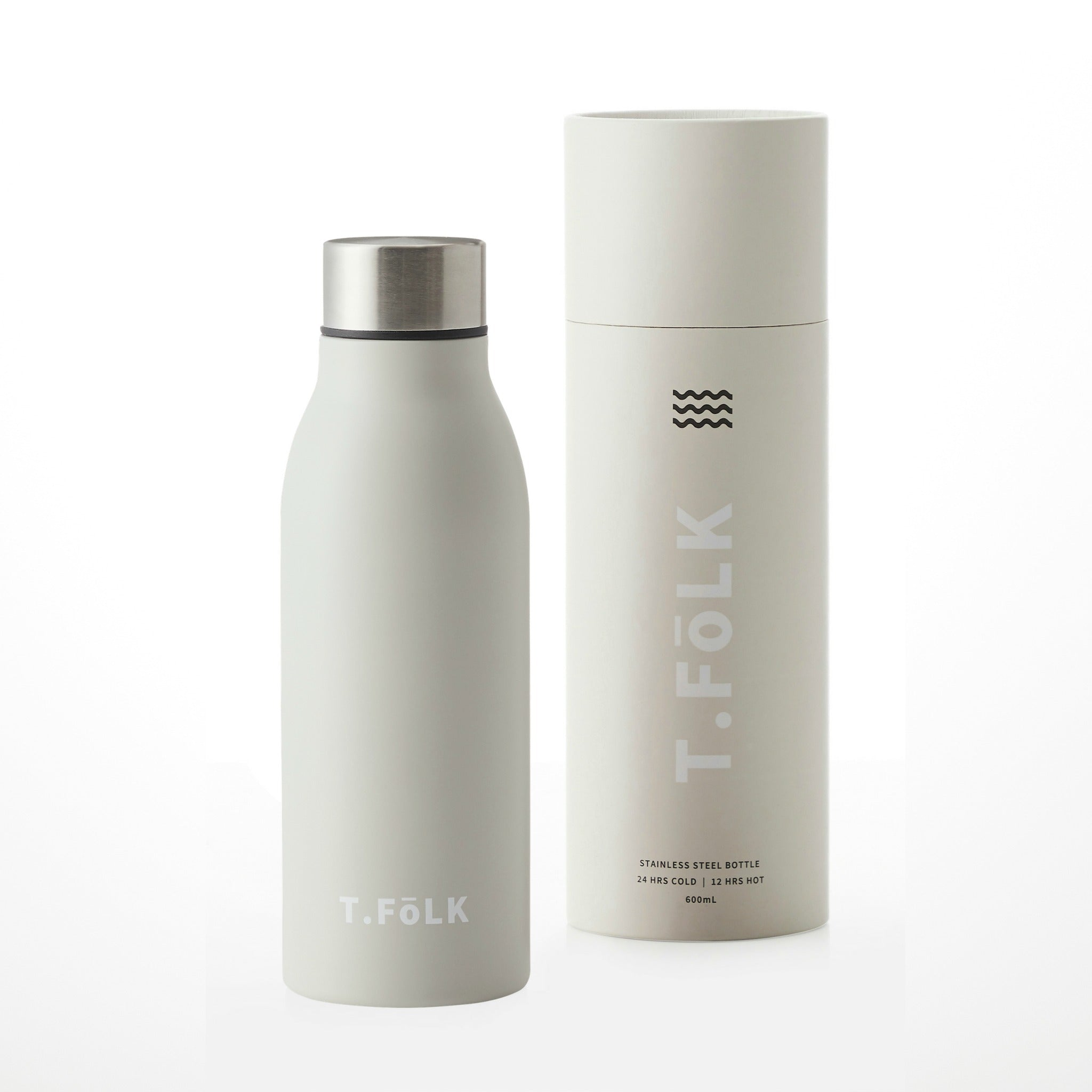 Stainless Steel Insulated Water Bottle Matte Warm Grey Neutral Australia with gifting tube