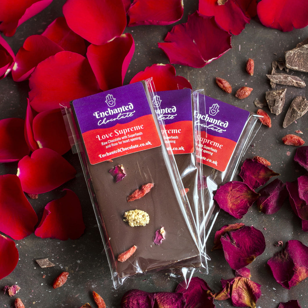 Love Supreme raw chocolate bar, 50g, with rose and superfoods for heart opening