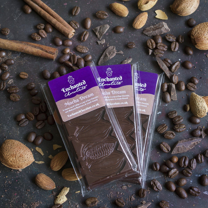 Mocha Dream raw chocolate bar, 50g, a creamy cup of coffee in a bar with ground coffee, medicinal mushrooms and smooth almond