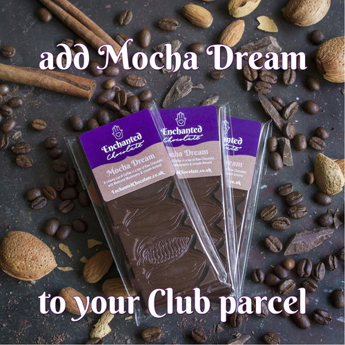 Add Mocha Dream raw chocolate bar to your monthly Raw Chocolate Club parcel