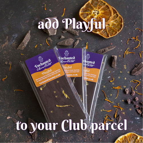 Add Playful raw chocolate bar to your monthly Raw Chocolate Club parcel