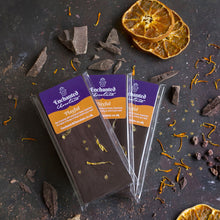 Playful raw chocolate bar, 50g, with Ceremonial Cacao, Superfoods & a teaser of Orange to bring a smile to your heart