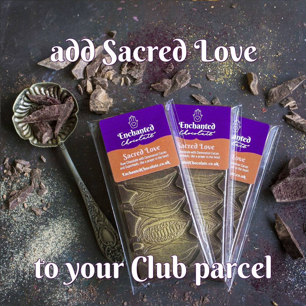 Add Sacred Love raw chocolate bar to your monthly Raw Chocolate Club parcel