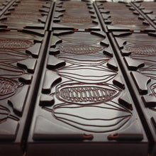 Cacao bean design on the reverse of the bar