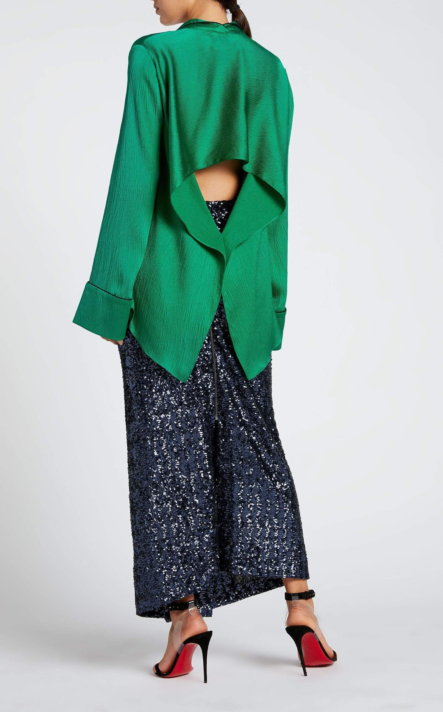 Algar Shirt In Emerald/Black from Roland Mouret