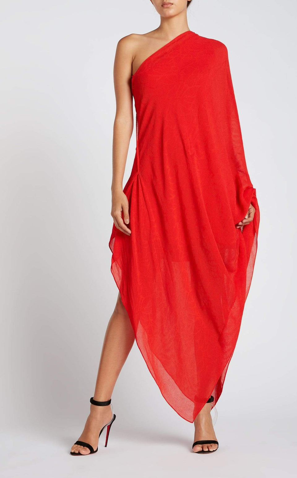 Graham Dress In Red/Red Lrg Painterly from Roland Mouret