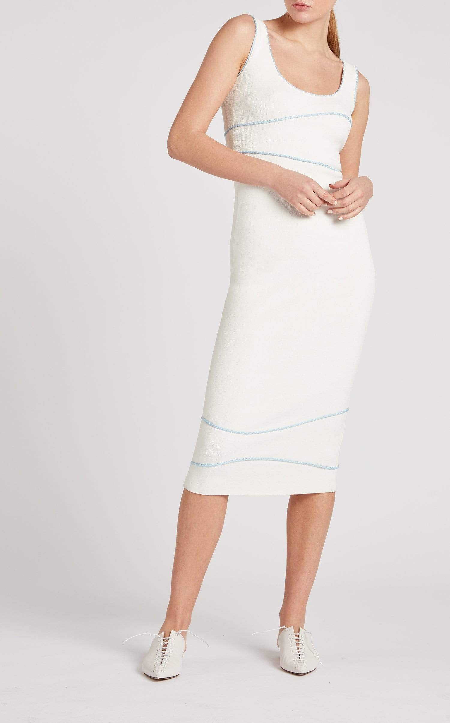 Harbour Dress In White/Ice Blue from Roland Mouret