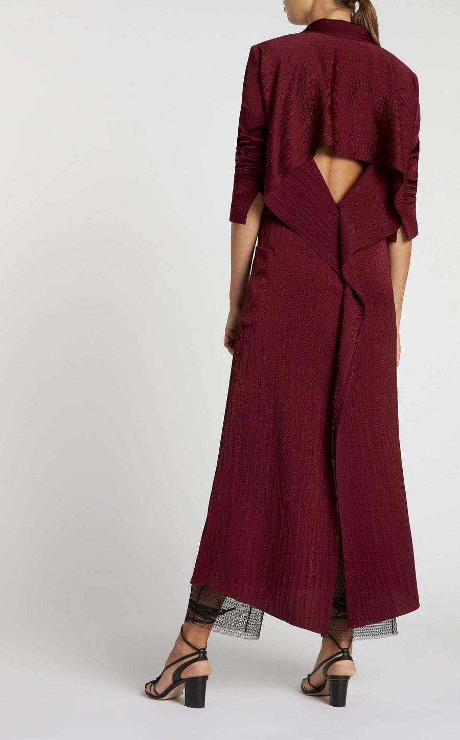 Heathcoat Coat In Cabernet from Roland Mouret