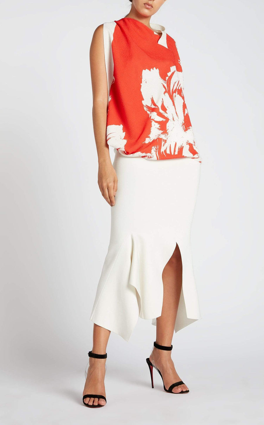 Hopkins Top In Red Painterly Large from Roland Mouret