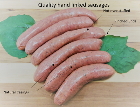 Hand linked sausages