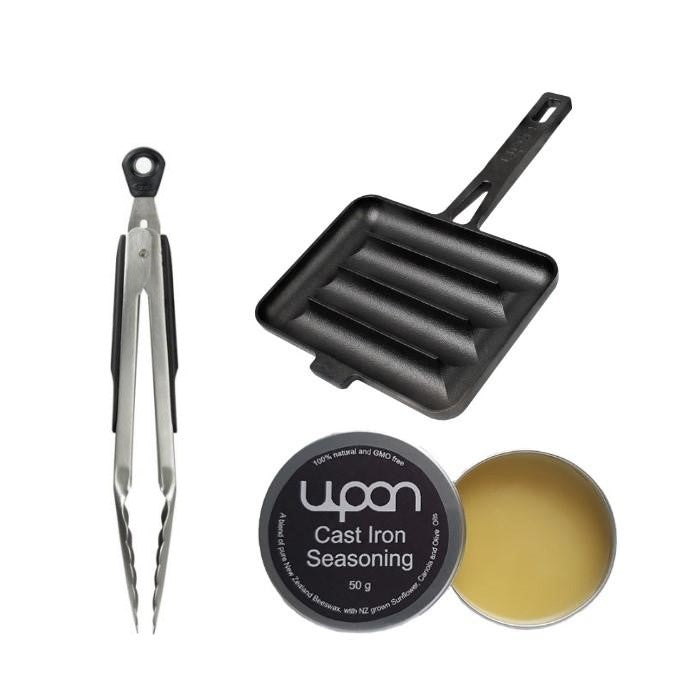 "1 x UPAN + UPAN Cast Iron Seasoning + OXO 9""Tongs"