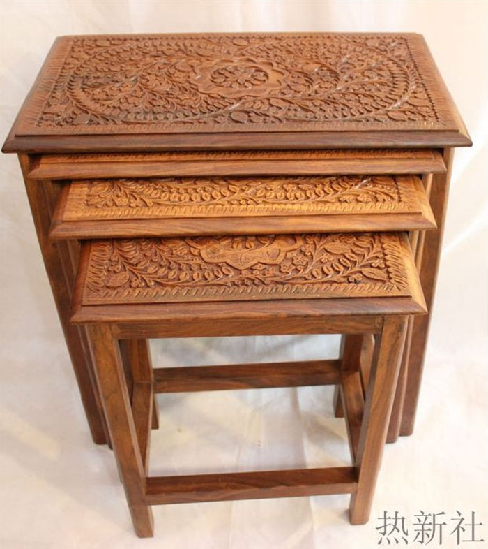 pakistan imported wood carving table antique wood pure handmade coffee table coffee table stool - Antique Wood Coffee Tables