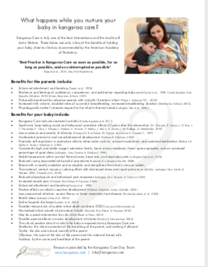 Benefits of Kangaroo Care to Provide to Parents ENGLISH/SPANISH
