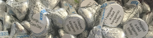 100 Stickers/labels about Kangaroo Care for KISSES HERSHEY (R)