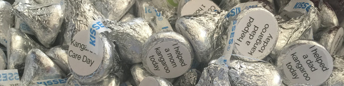200 Stickers/labels about Kangaroo Care for KISSES HERSHEY (R)