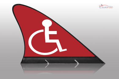 Handicap Red  Car Flag CARFIN , Magnetic Car signs. - Carfin