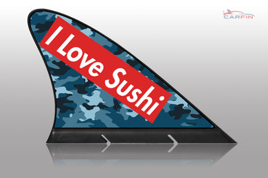 I Love Sushi Car Flag CARFIN , Magnetic Car signs. - Carfin