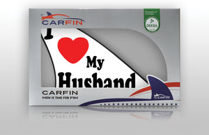 I Love My Husband Car Flag CARFIN , Magnetic Car signs. - Carfin