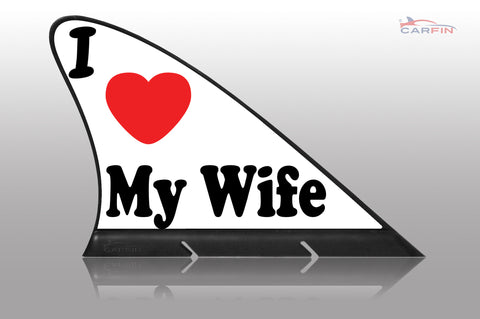 I Love My Wife Car Flag CARFIN , Magnetic Car signs. - Carfin