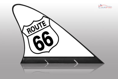 Route 66 White  Car Flag CARFIN , Magnetic Car signs. - Carfin