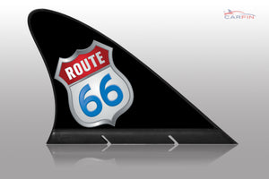 Route 66 Black Car Flag CARFIN , Magnetic Car signs. - Carfin
