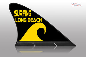 Surfing Long Beach Car Flag CARFIN , Magnetic Car signs. - Carfin