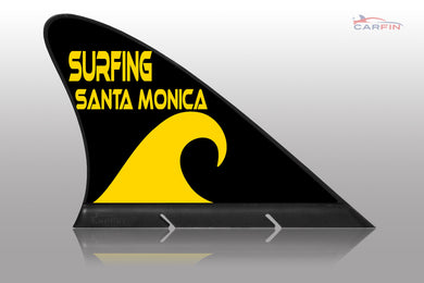 Surfing Santa Monica Car Flag CARFIN , Magnetic Car signs. - Carfin