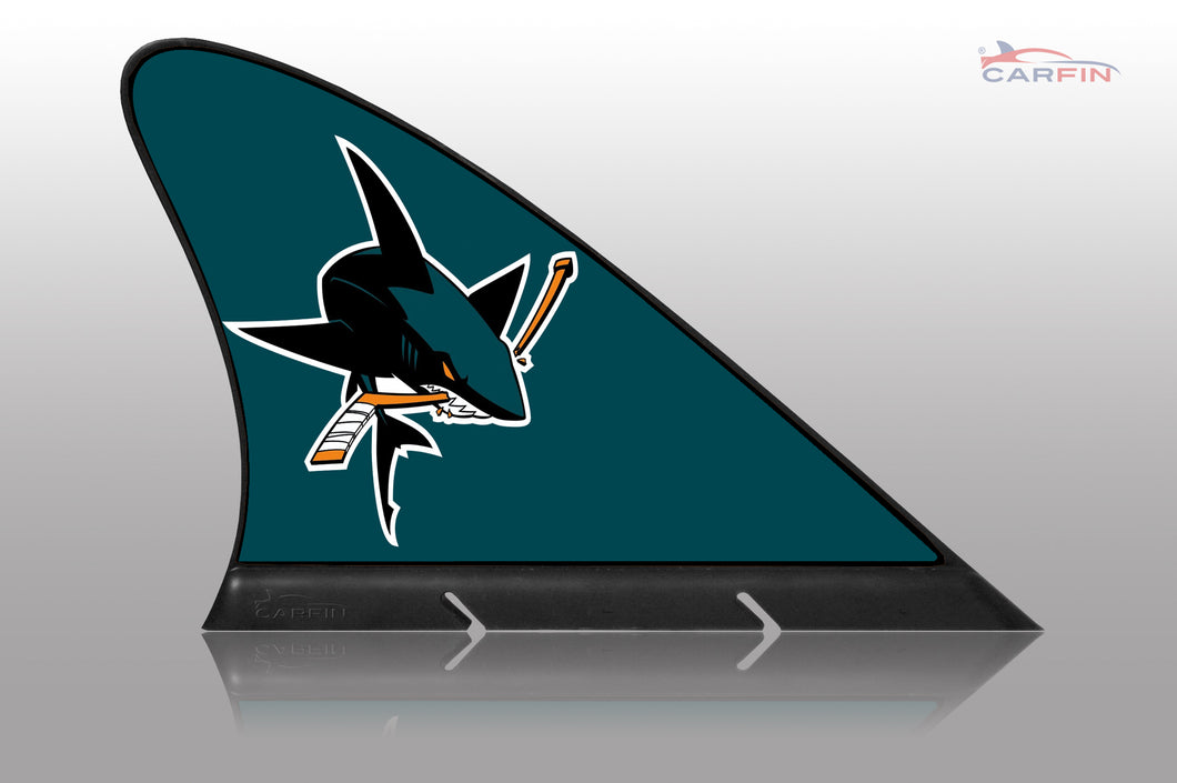 San Jose Sharks Car Flag, CARFIN  Magnetic Car Flag.