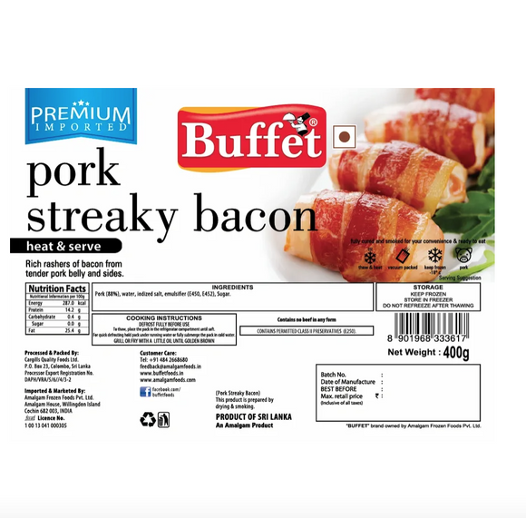 Streaky Bacon 400g Buffet
