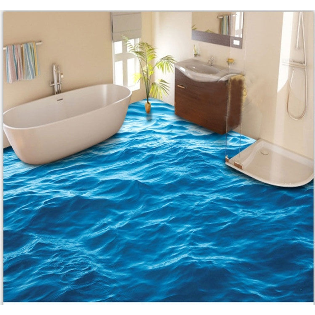 3D Peaceful Blue Sea Water Floor Mural Photo Flooring Wallpaper ...