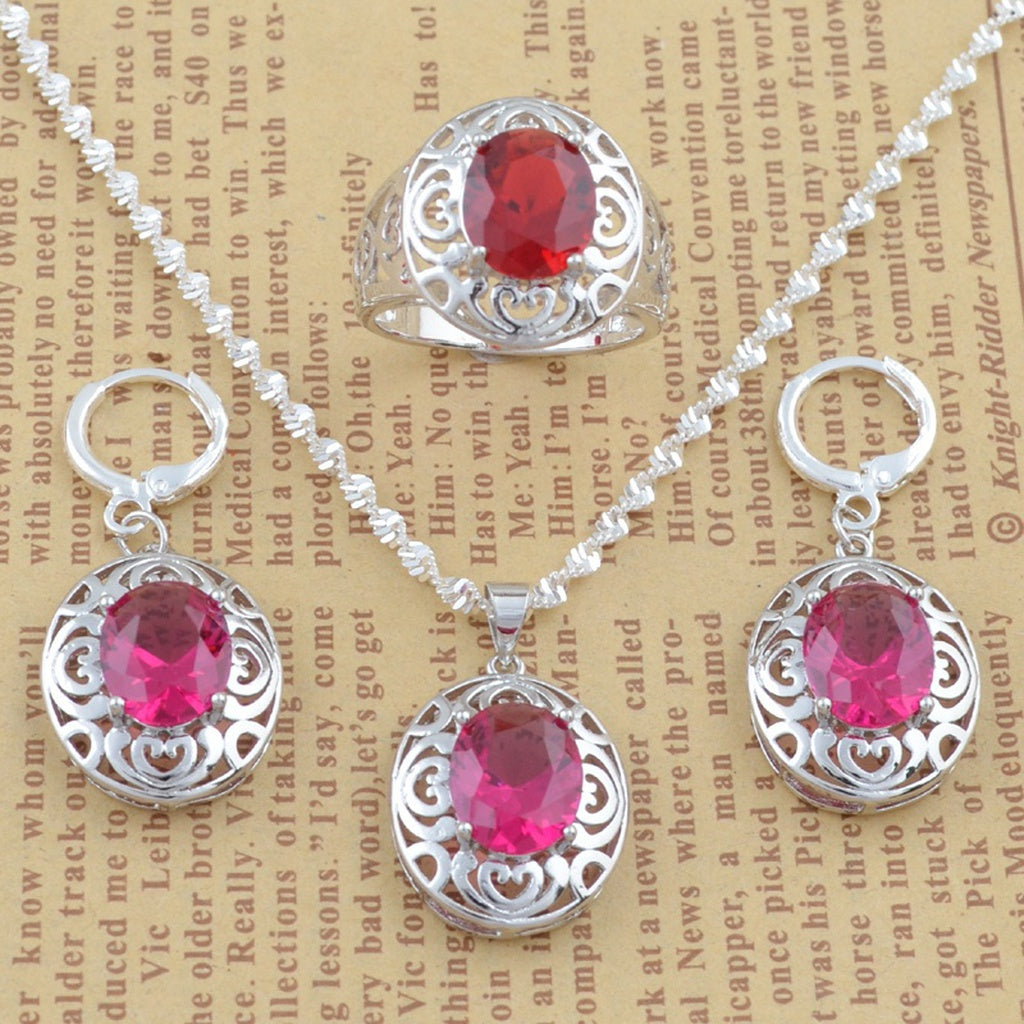 925 Sterling Silver Pink Crystal Flower Pendant Necklace Women Fashion Jewelry