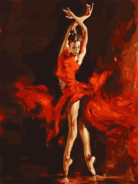 Fire Ballet Dancer - iHeart DIY Painting By Numbers