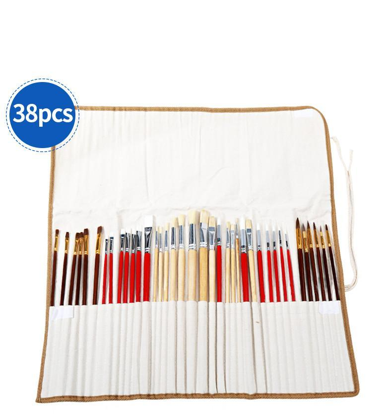 38 Piece Paint Brush Set With Canvas Bag