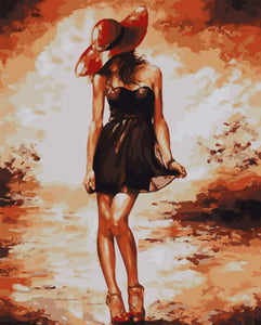 Beauty in Red Hat - iHeart DIY Painting By Numbers