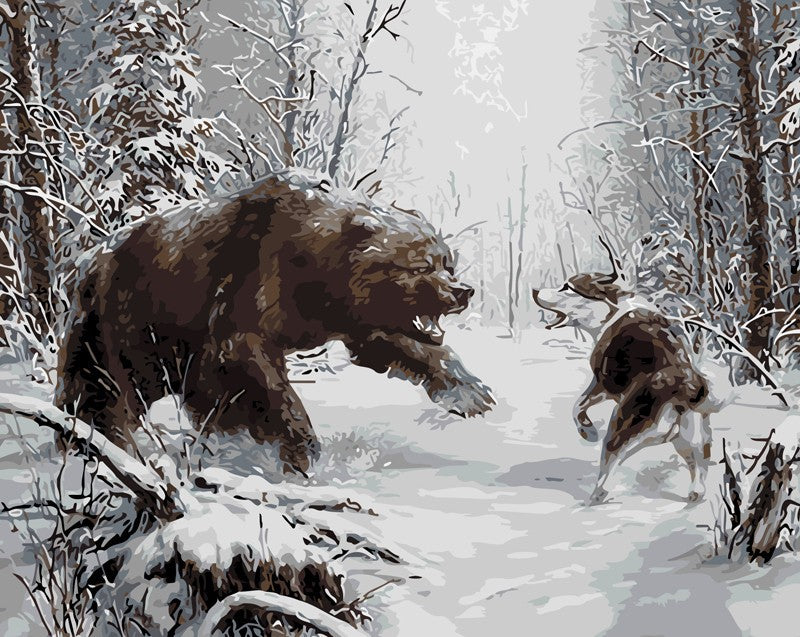 Black Bear & Wolf Fight - iHeart DIY Painting By Numbers