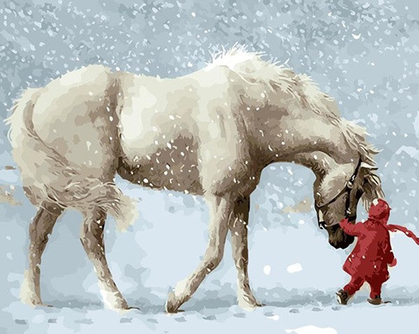 Kid Walking With Horse in Snow - iHeart DIY Painting By Numbers