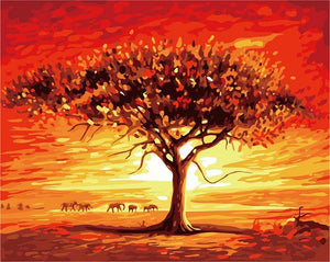 Sunset & Tree - iHeart DIY Painting By Numbers