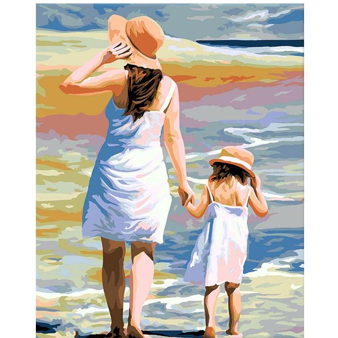 Mom & Baby Girl at Beach - iHeart DIY Painting By Numbers