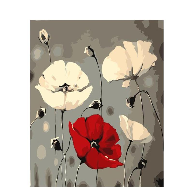 White and Red Flowers - iHeart DIY Painting By Numbers
