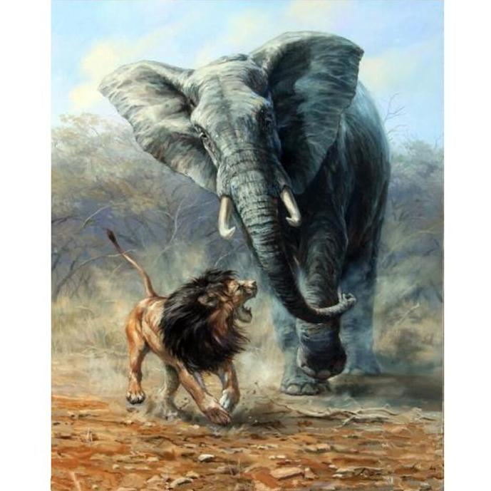 Lion & Elephant Fight Painting By Numbers Kit