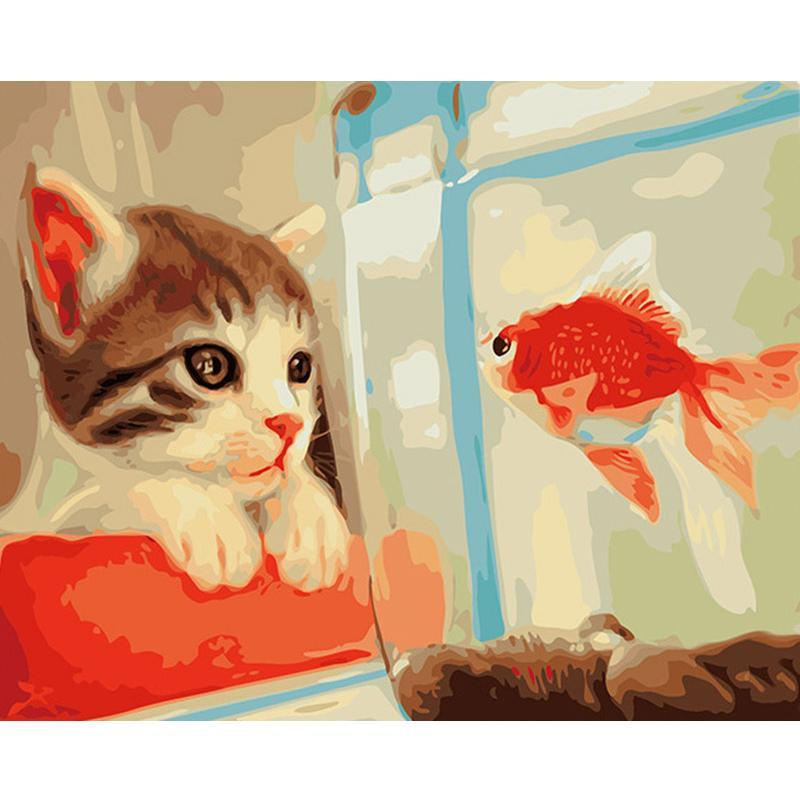 Cat & Fish - iHeart DIY Painting By Numbers