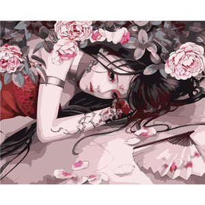 Beautiful Girl with Flowers Painting By Numbers