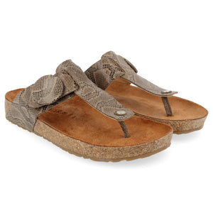 Haflinger Big Button Corrina Sandal - Taupe Reptile