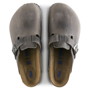 Birkenstock Boston Clog - Iron Oiled Leather Top