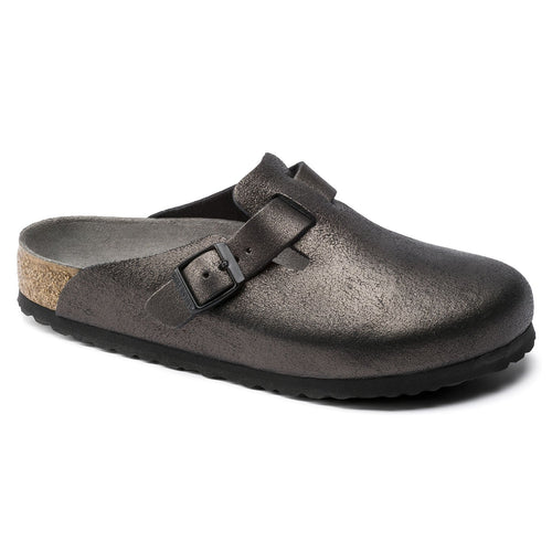 Birkenstock Boston Clog - Washed Metallic Antique Black