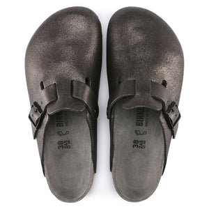 Birkenstock Boston Clog - Washed Metallic Antique Black Top
