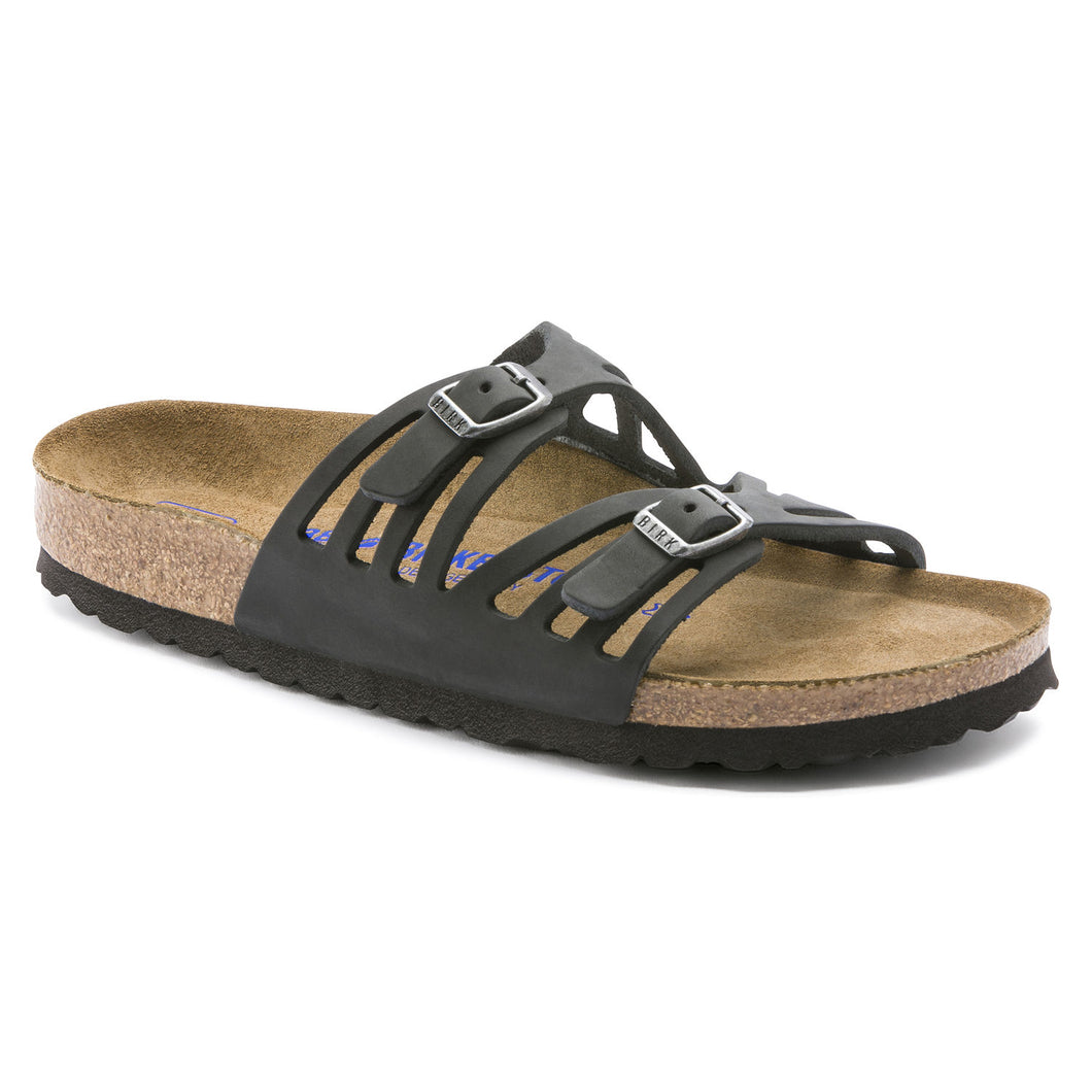 Birkenstock Granada Soft Footbed Sandal - Black Oiled Leather