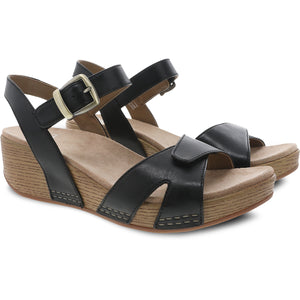 Dansko Laurie Sandal - Black Burnished Calf Pair