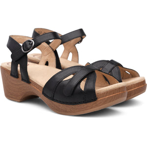 Dansko Season Sandal - Black Full Grain Leather Pair