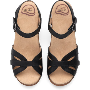 Dansko Season Sandal - Black Full Grain Leather Top